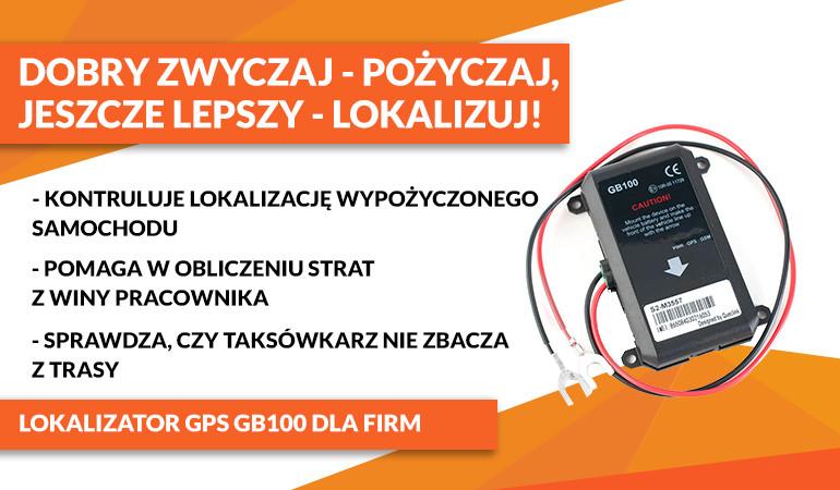 Lokalizator GPS GB100 z zapisem przebytej trasy dla firm transportowych